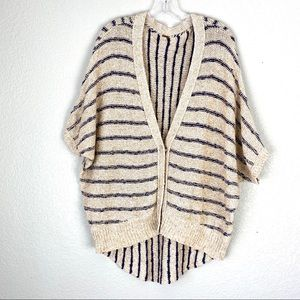 FREE PEOPLE Cotton Striped Short Sleeve Cardigan S